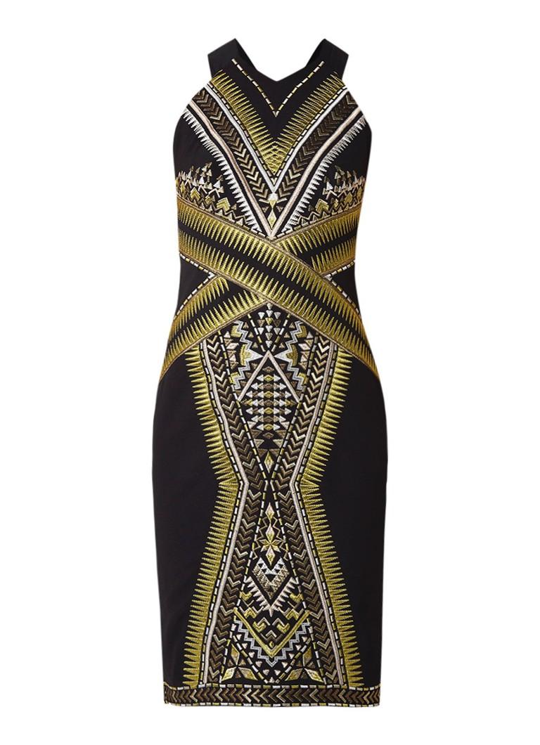 Karen Millen Midi-jurk van stretchjersey met metallic broderie zwart