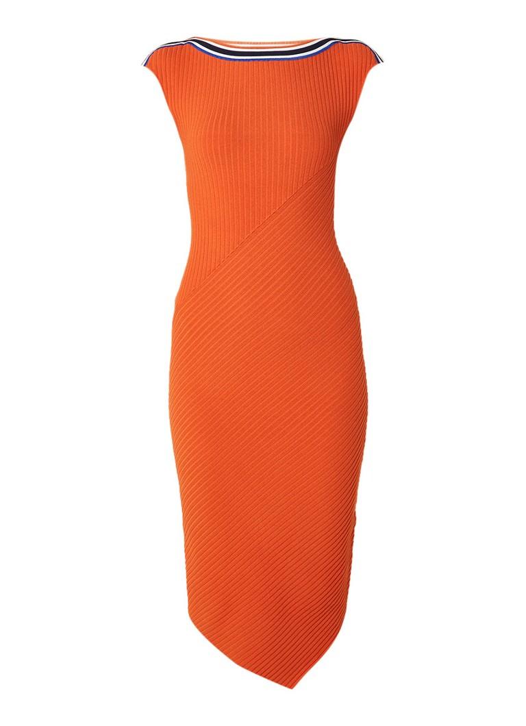 Karen Millen Ribgebreide kokerjurk met gestreepte boord oranje