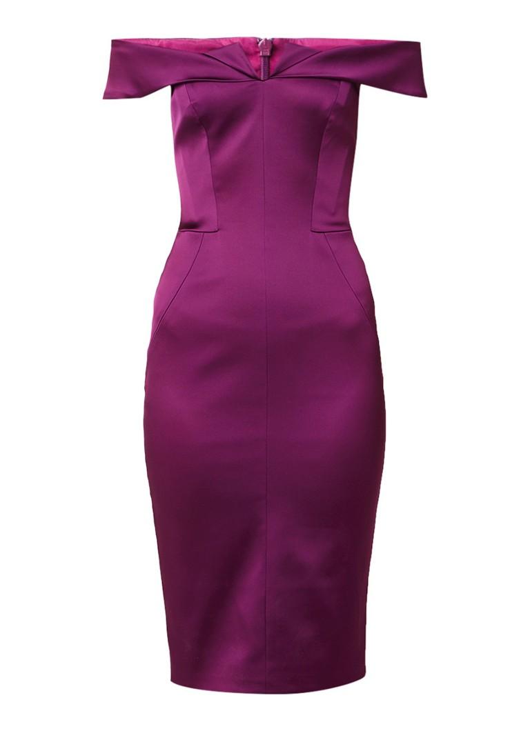 Karen Millen Off shoulder kokerjurk van satijn paars
