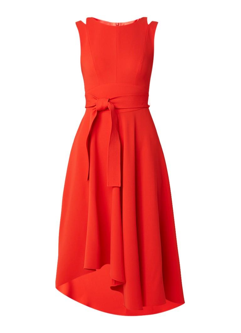 Karen Millen Asymmetrische A-lijn jurk met strikceintuur rood