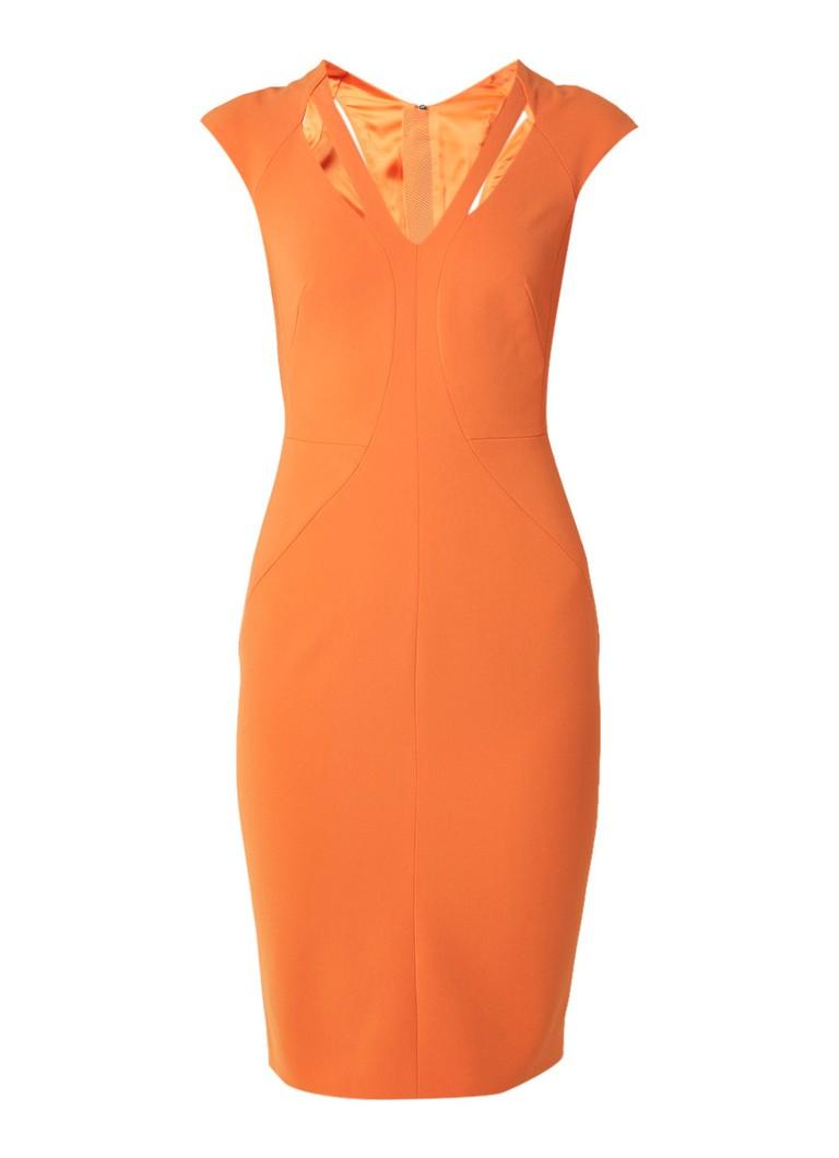 Karen Millen Kokerjurk met cut-outs en coupenaden oranje
