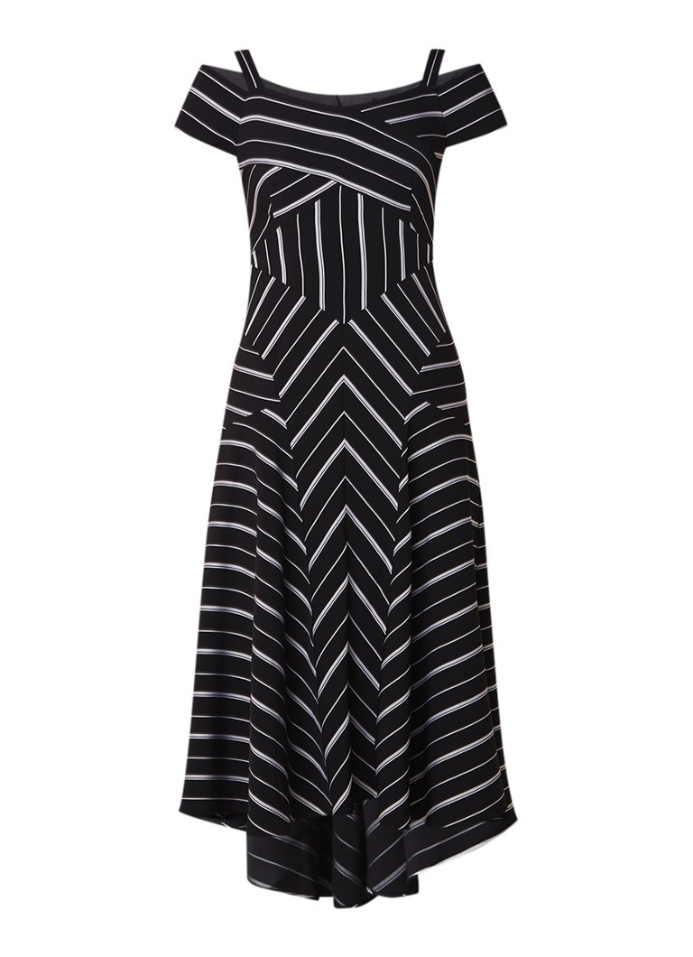 Karen Millen Cold shoulder A-lijn jurk met grafisch dessin