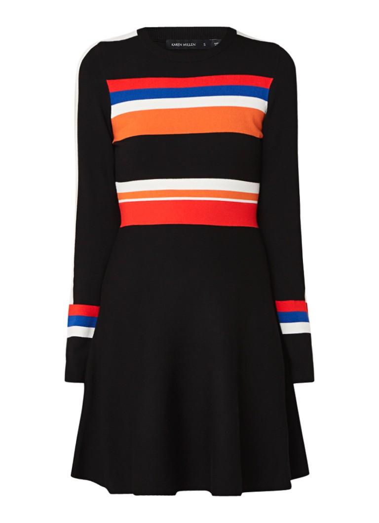 Karen Millen Fijngebreide A-lijn jurk met streepdessin en stretch zwart