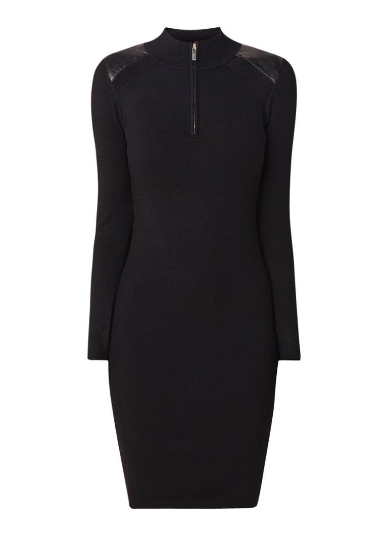 Karen Millen Fijngebreide midi-jurk met halve rits en inzet van imitatieleer zwart