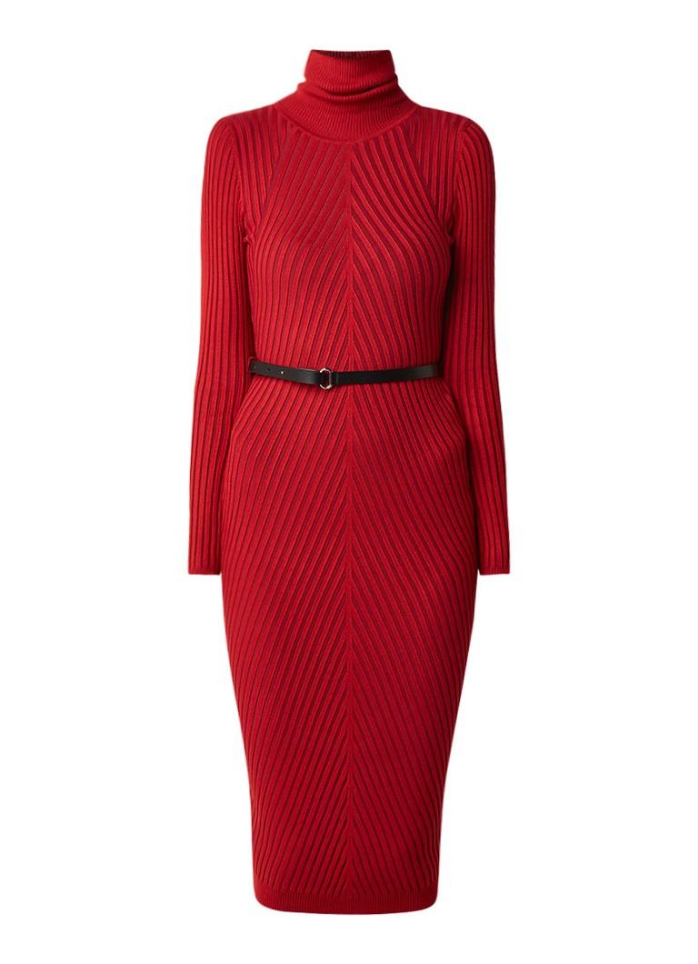 Karen Millen Ribgebreide jurk met col en ceintuur kersenrood