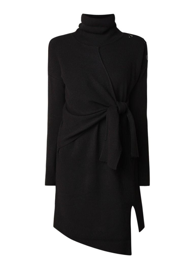 Karen Millen Fijngebreide trui-jurk met col en strikdetail zwart
