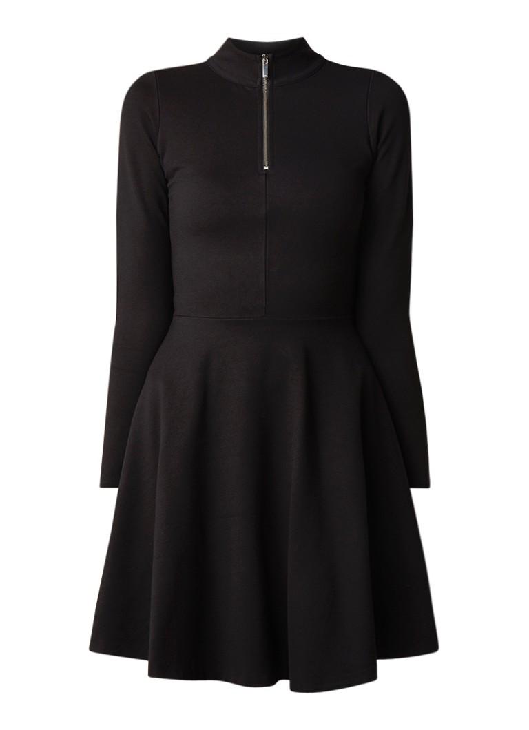 Karen Millen A-lijn jurk van jersey met halve rits zwart