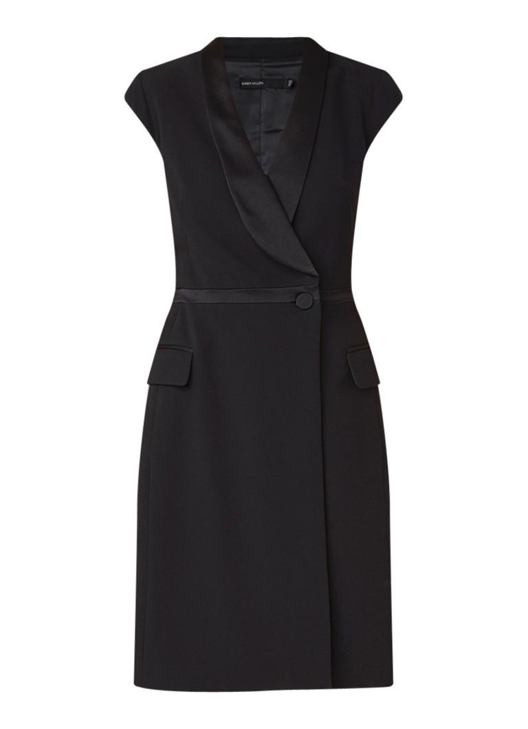 Karen Millen Midi-jurk van crêpe met blazerlook zwart