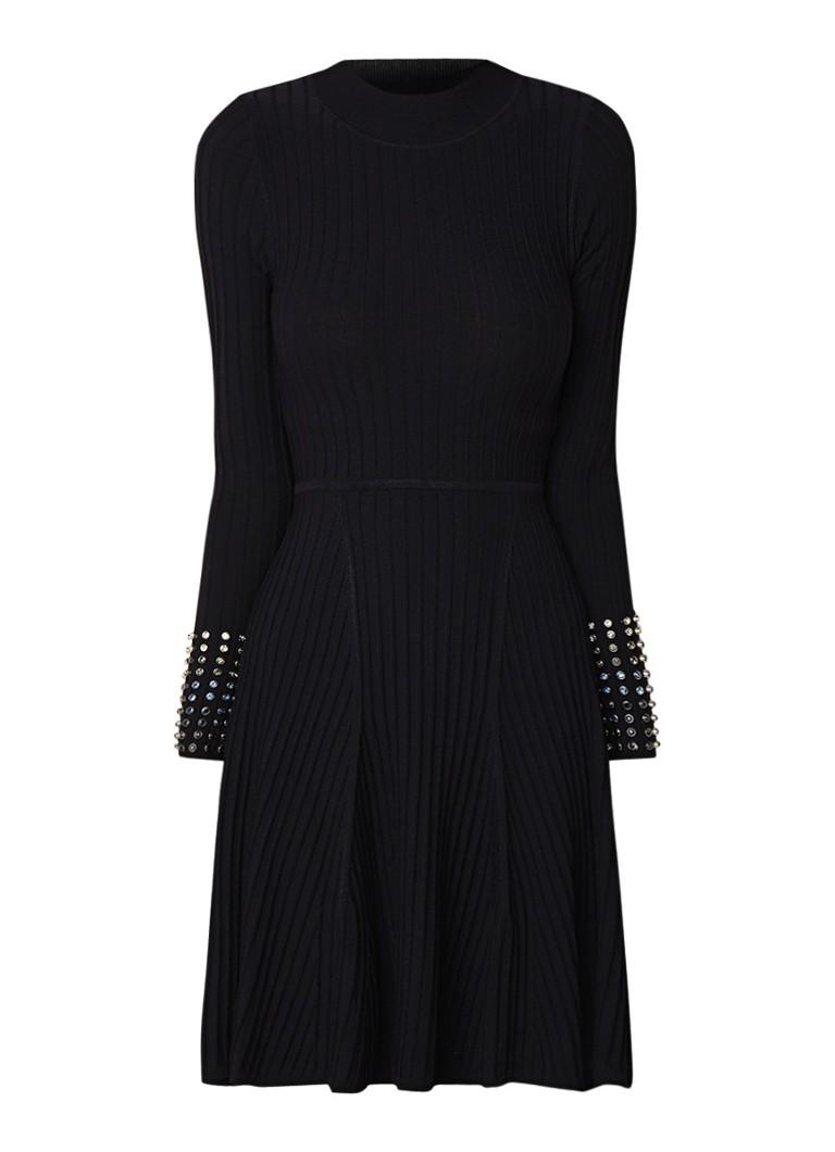 Karen Millen Ribgebreide A-lijn jurk met studs zwart