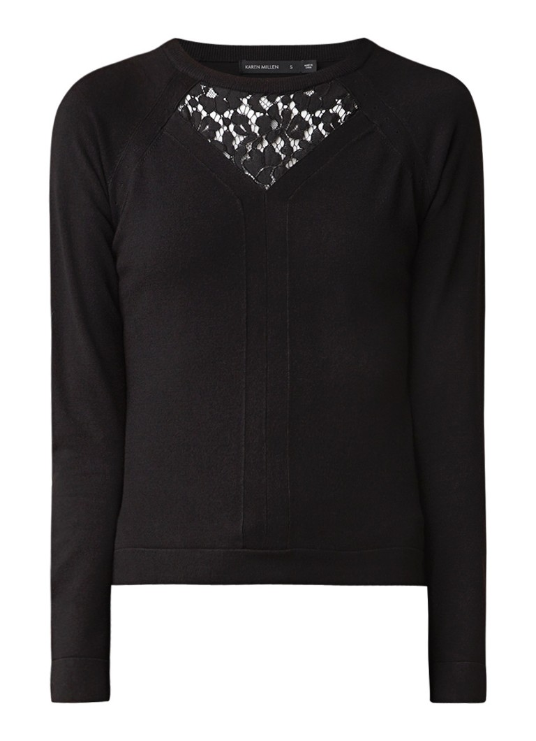 Karen Millen Fijngebreide pullover met inzet van kant