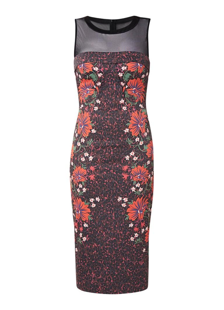 Karen Millen Midi-jurk met semi-transparante inzet en bloemendessin multicolor