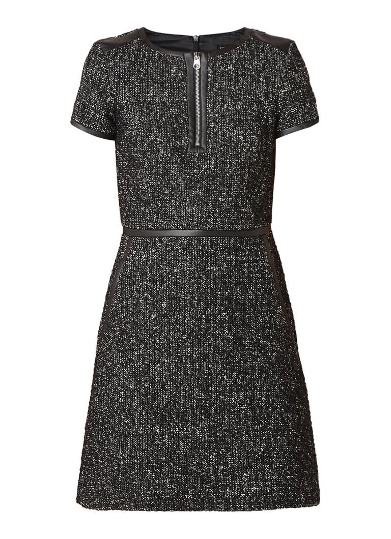 Karen Millen Mini-jurk in alpaca wolblend met tweed look zwart