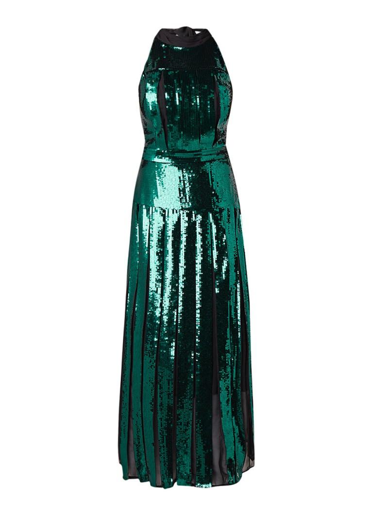 Karen Millen Maxi-jurk met halter en pailletten turquoise