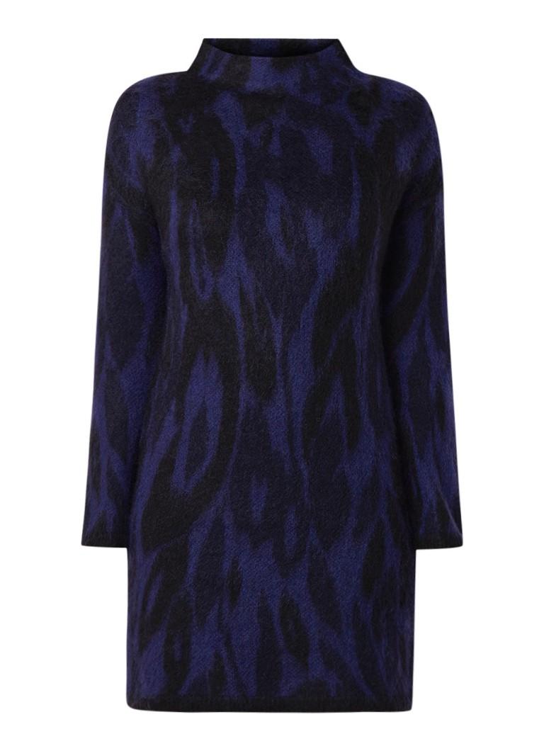 Karen Millen Fijngebreide jurk met zebradessin kobaltblauw