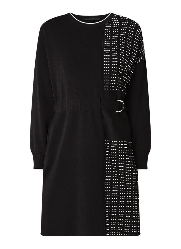 Karen Millen Graphic fijngebreide midi-jurk met ceintuur zwart