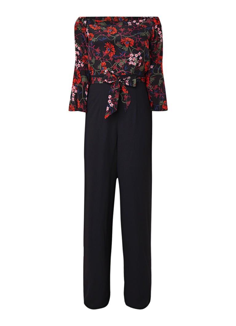 Karen Millen Off shoulder jumpsuit van zijde met bloemenprint