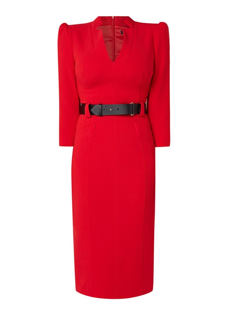 Karen Millen Midi kokerjurk met ceintuur rood