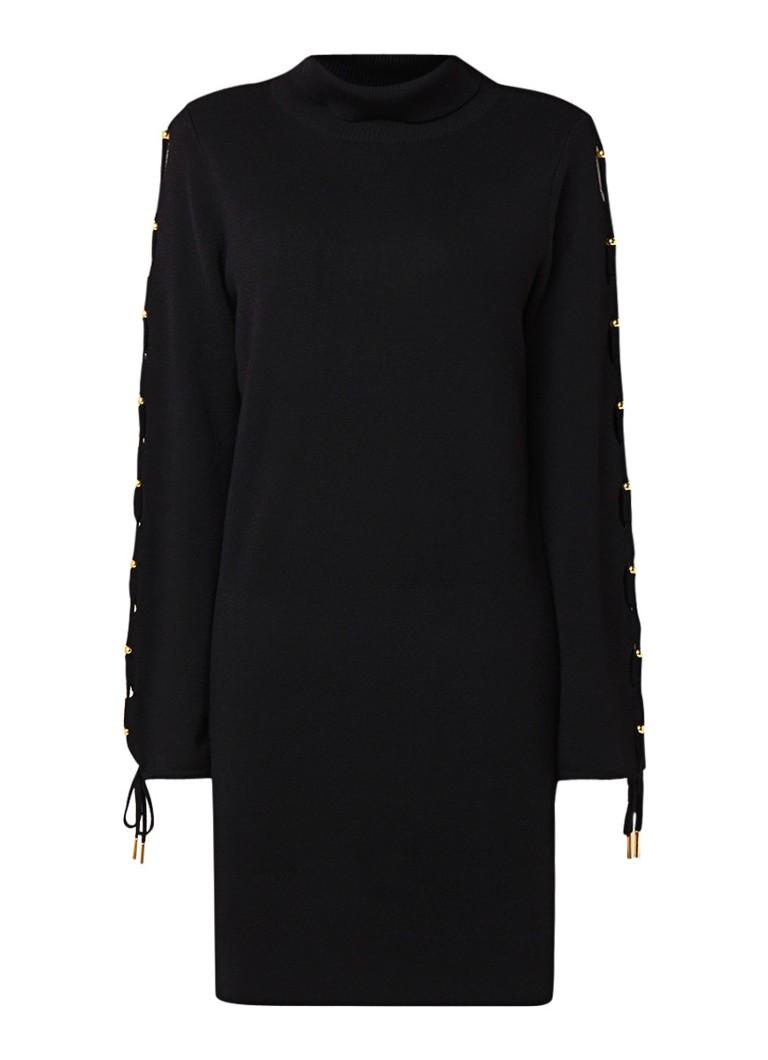 Karen Millen Fijngebreide midi-jurk van wol met col en rijgdetail zwart