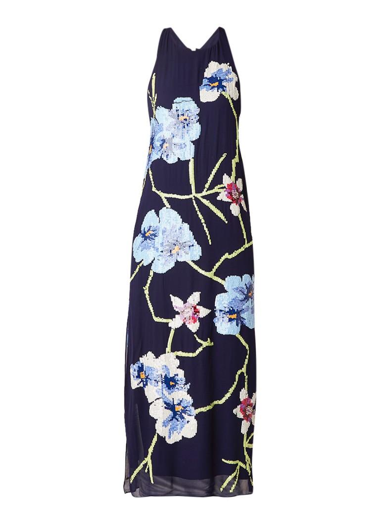Karen Millen Halterjurk met bloemendessin van pailletten donkerblauw