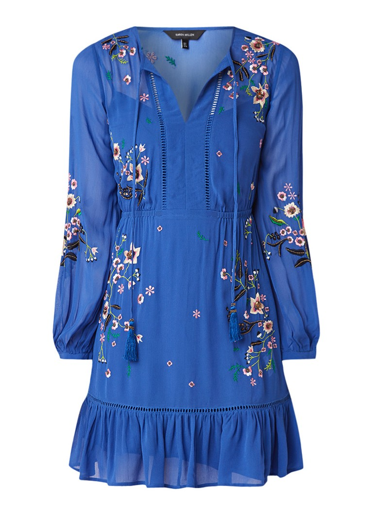 Karen Millen Jasmine tuniekjurk met bloemenborduringen en kwastjes kobaltblauw