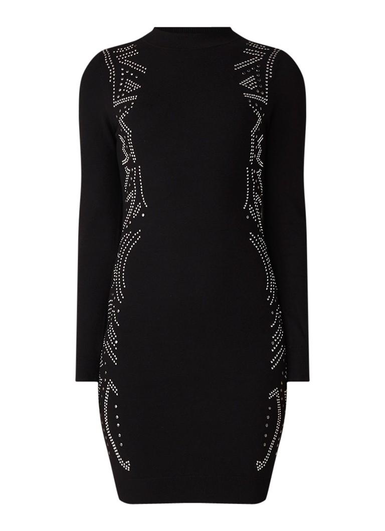 Karen Millen Fijngebreide trui-jurk met studs en lage col zwart
