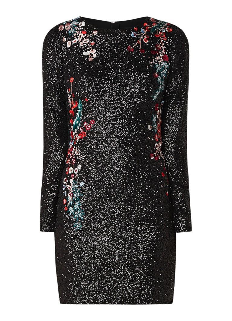 Karen Millen Mini-jurk met pailletten en bloemenborduring zwart