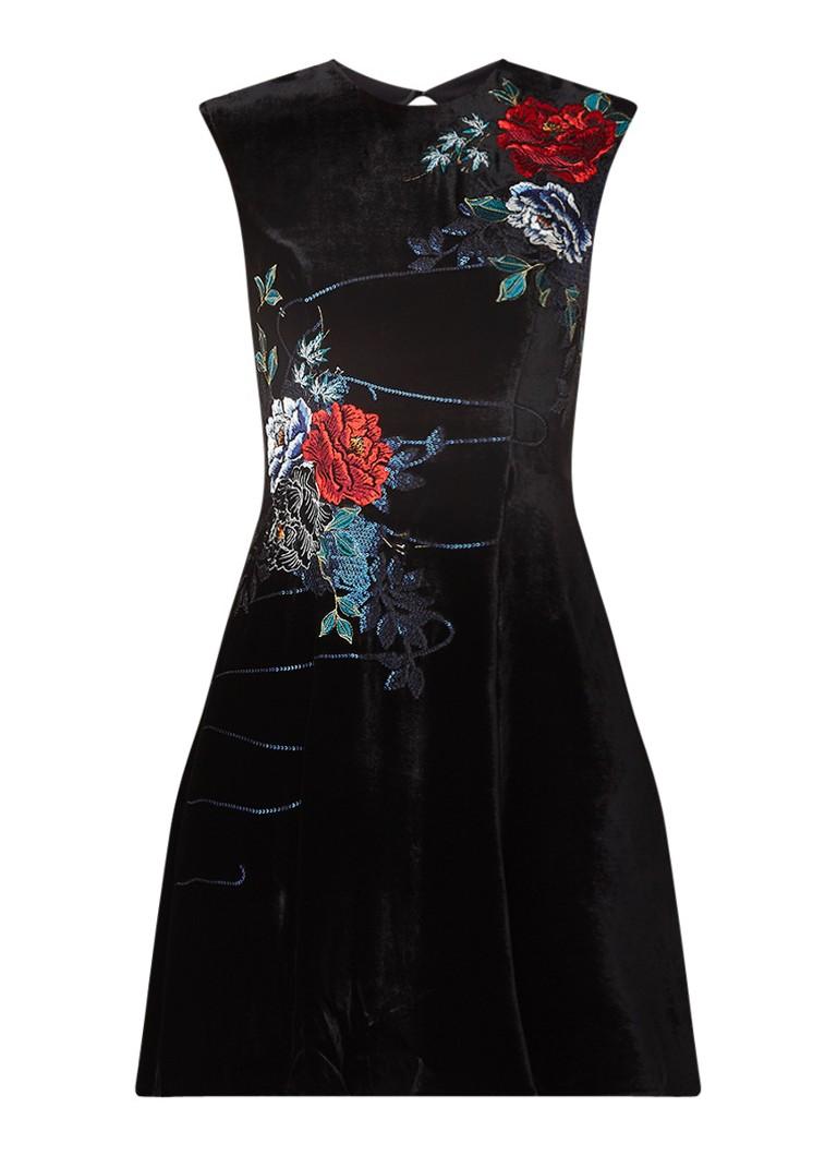 Karen Millen Mini-jurk van fluweel met bloemenborduring en cut-out zwart