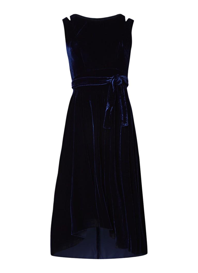 Karen Millen Asymmetrische midi-jurk van fluweel donkerblauw