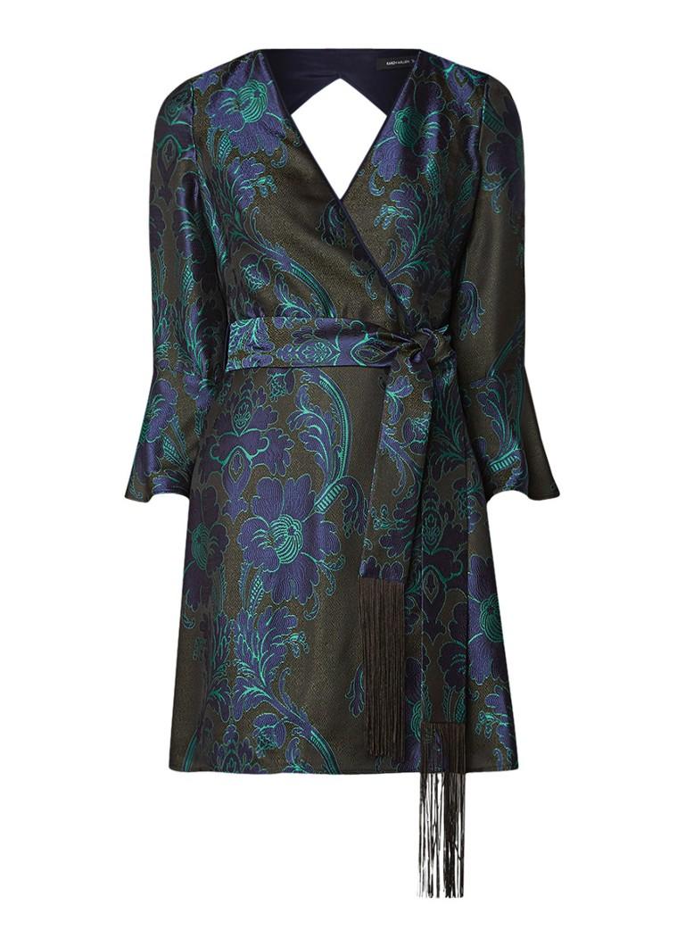 Karen Millen A-lijn jurk met jacquarddessin groen