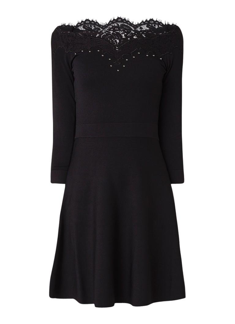 Karen Millen Fijngebreide off shoulder jurk met inzet van kant zwart