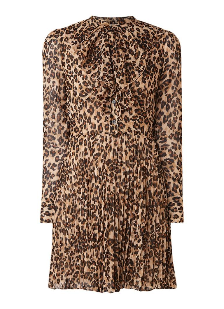 Karen Millen Mini blousejurk met geplisseerde rok en luipaarddessin bruin