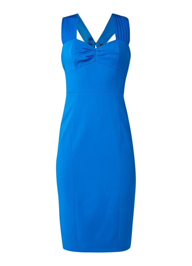 Karen Millen Kokerjurk met plissé en achtersplit royalblauw