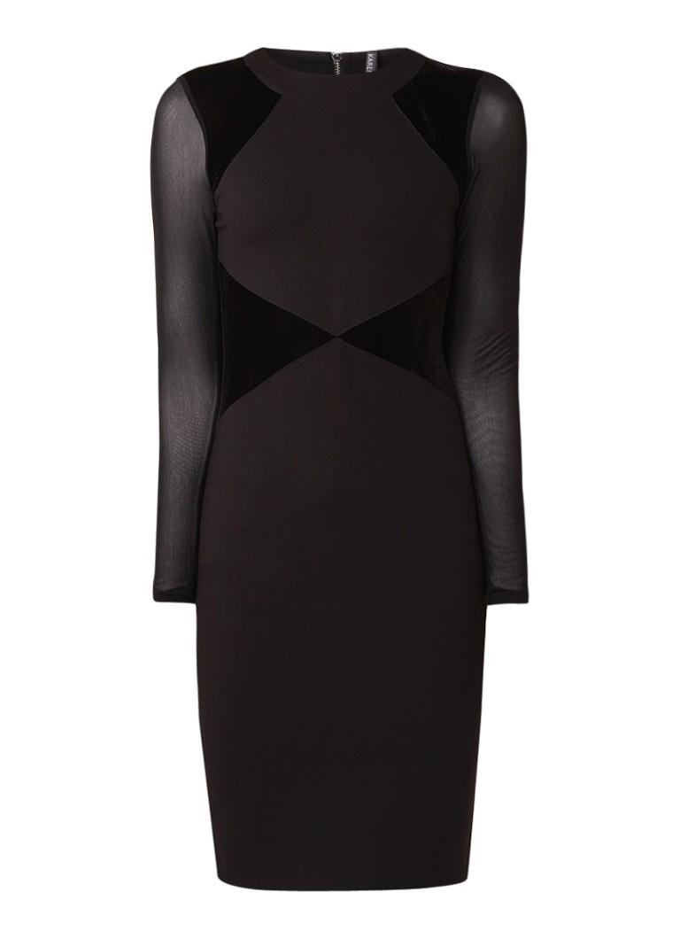 Karen Millen Kokerjurk met velvet detail en mouwen van mesh zwart