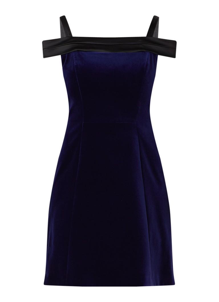 Karen Millen Mini A-lijn jurk van fluweel donkerblauw