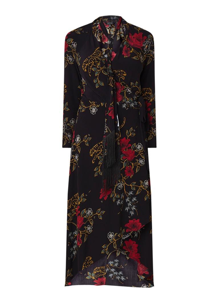 Karen Millen Midi wikkeljurk met bloemendessin zwart