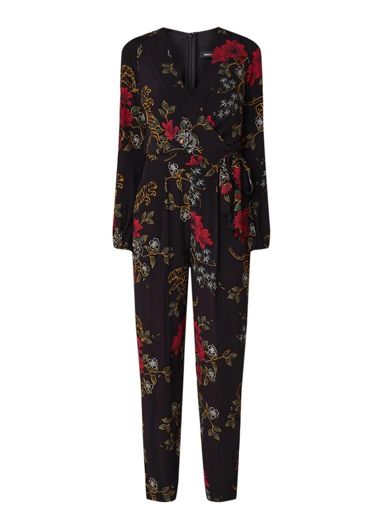 Karen Millen Jumpsuit met bloemendessin en strikceintuur