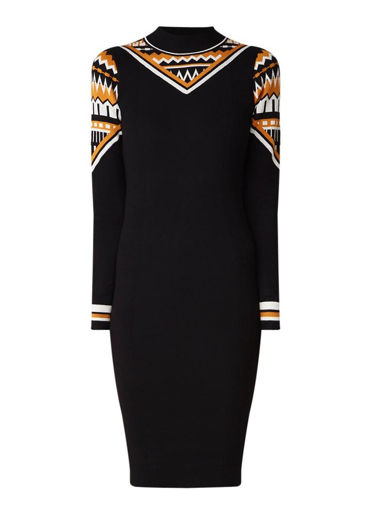 Karen Millen Ribgebreide midi-jurk met ingeweven dessin zwart