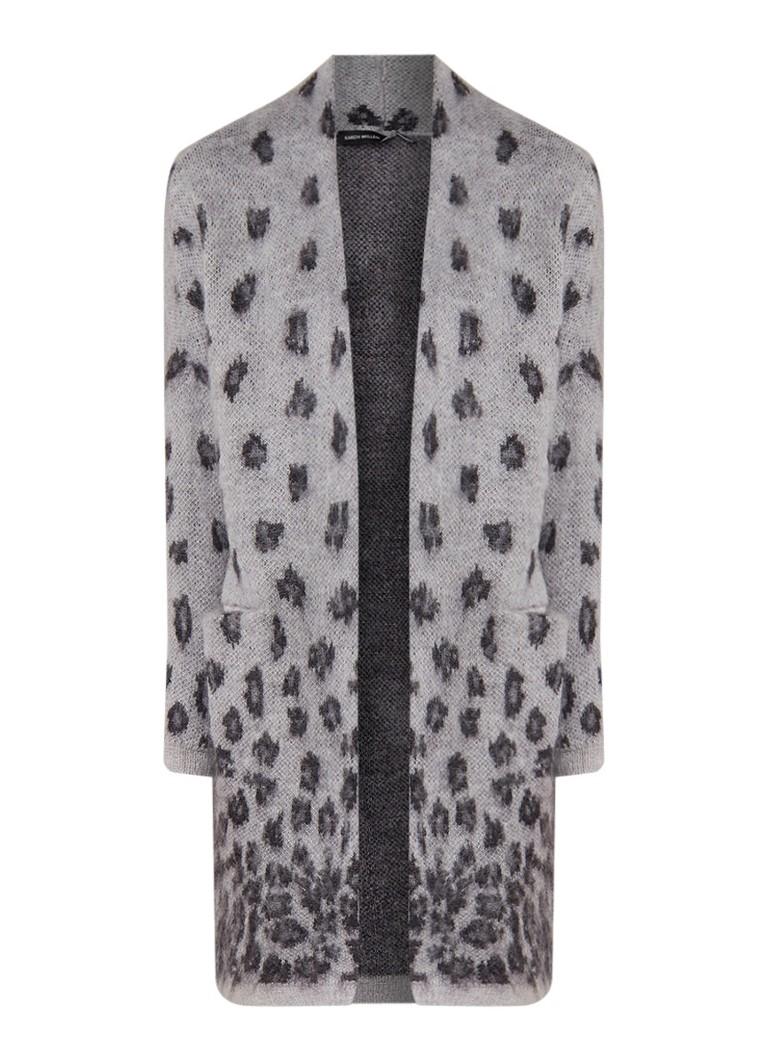 Image of Karen Millen Fijngebreid openvallend vest in wolblend met luipaarddessin