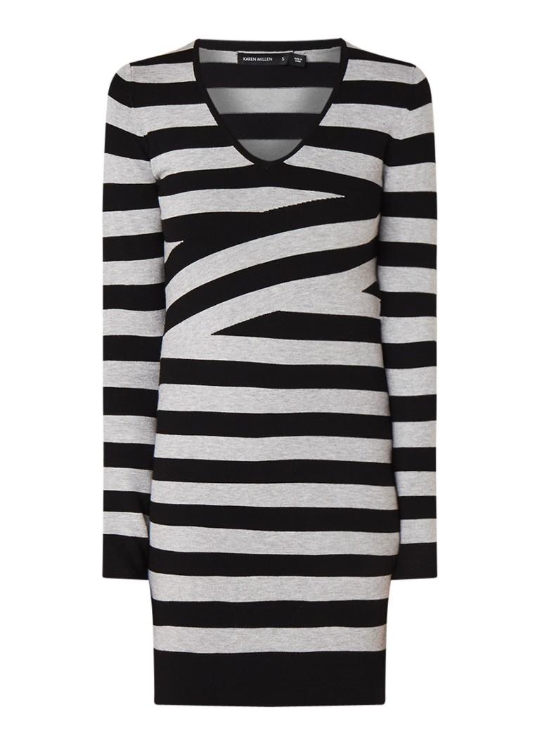 Karen Millen Trui-jurk met ingeweven streepdessin grijs