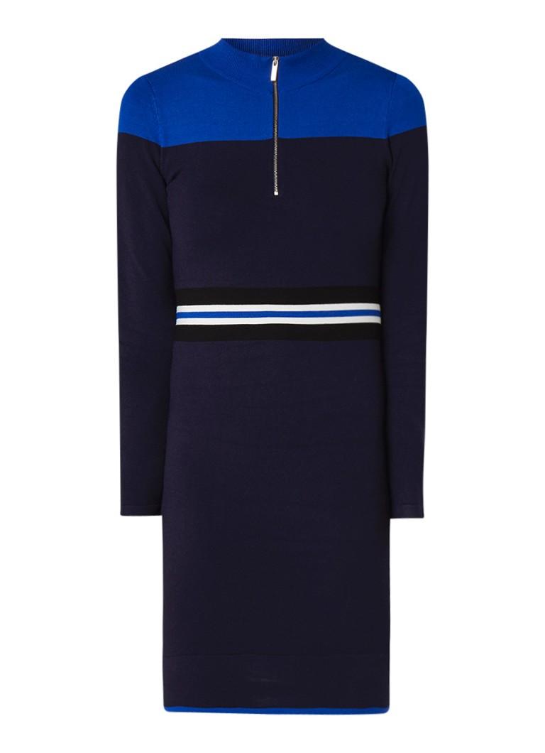 Karen Millen Fijngebreide trui-jurk met halve rits en streepdetail donkerblauw