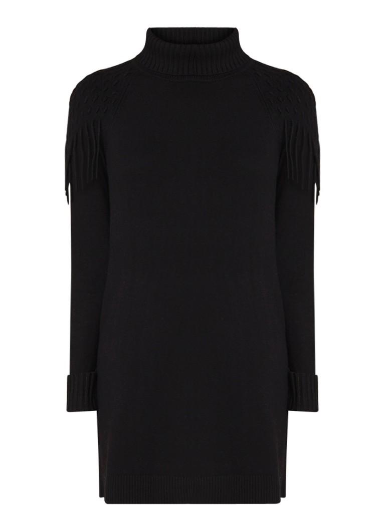 Karen Millen Trui-jurk in kasjmierblend met col en franjes zwart