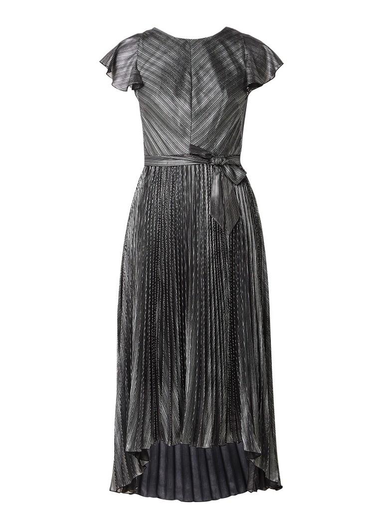 Karen Millen Geplisseerde midi-jurk met metallic streepdessin zilver