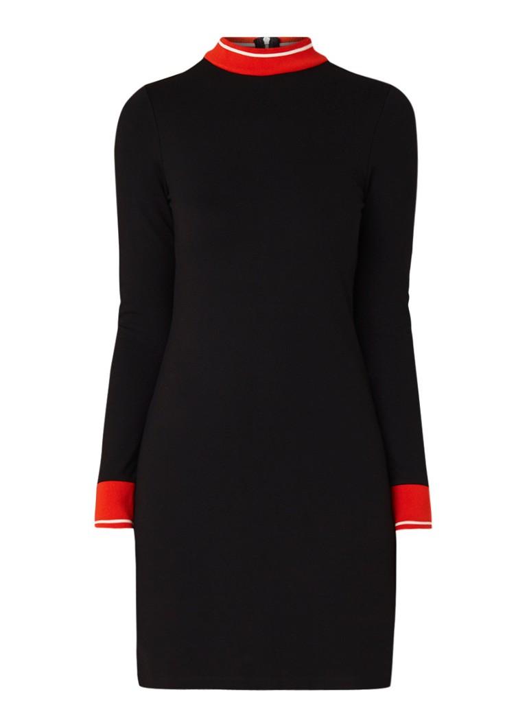 Karen Millen Mini-jurk met ribgebreide boorden zwart
