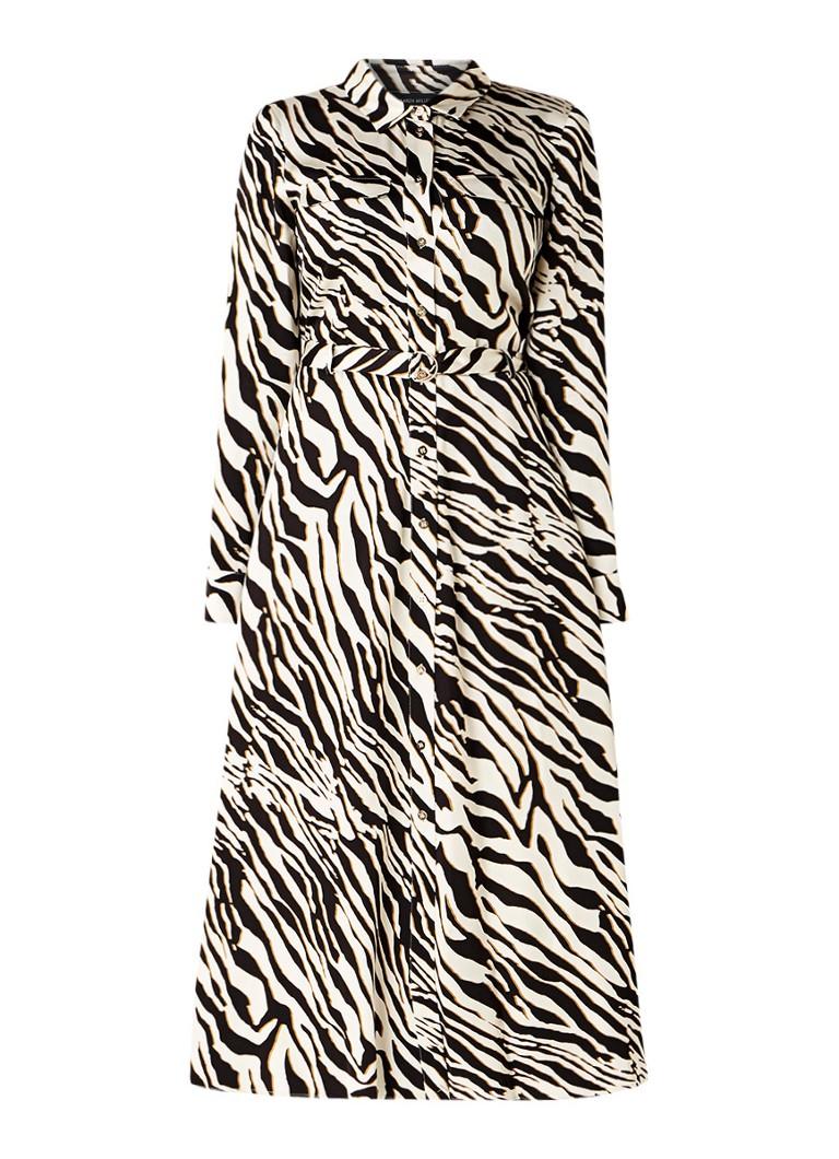 Karen Millen Blousejurk met zebradessin en strikceintuur zwart