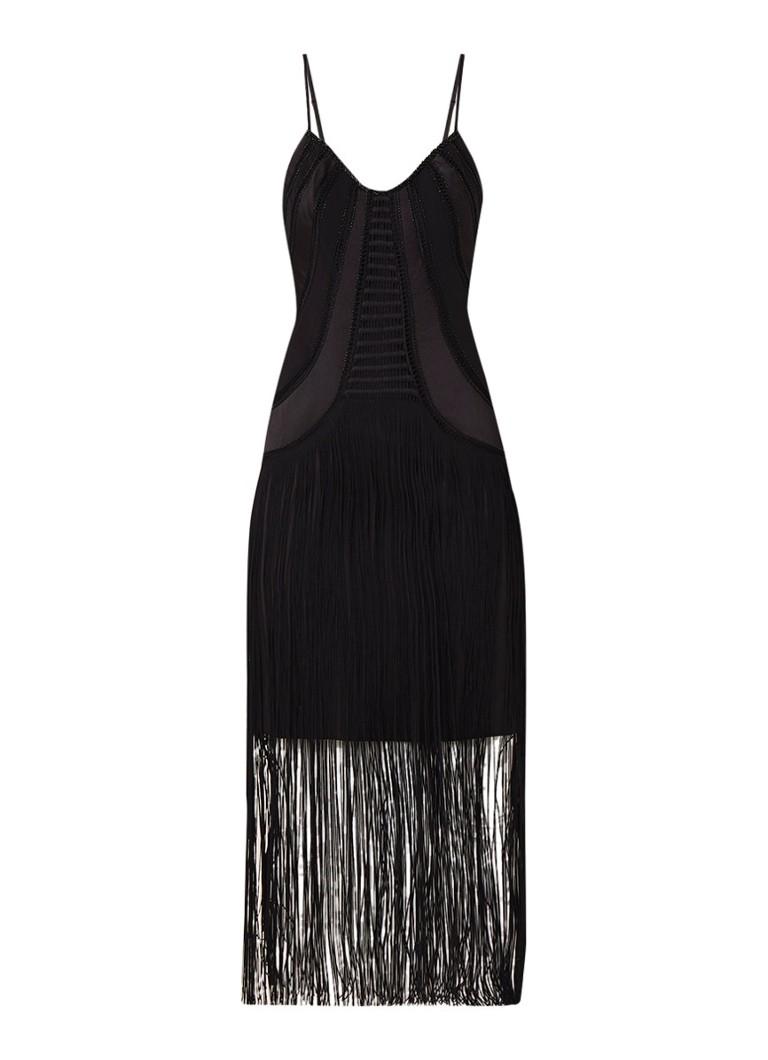 Karen Millen Maxi-jurk met franjes en kralendecoratie zwart