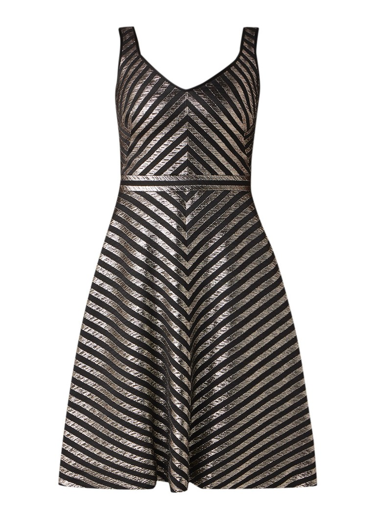Karen Millen Mouwloze A-lijn jurk met lurex zigzag-dessin zwart