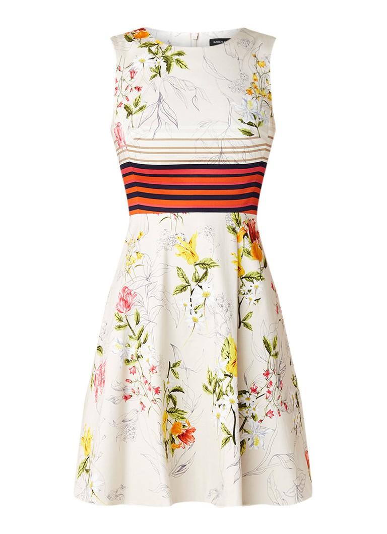 Karen Millen Mouwloze A-lijn jurk met bloemendessin creme