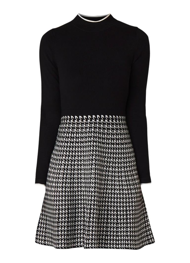 Karen Millen A-lijn jurk met pied-de-poule dessin zwart