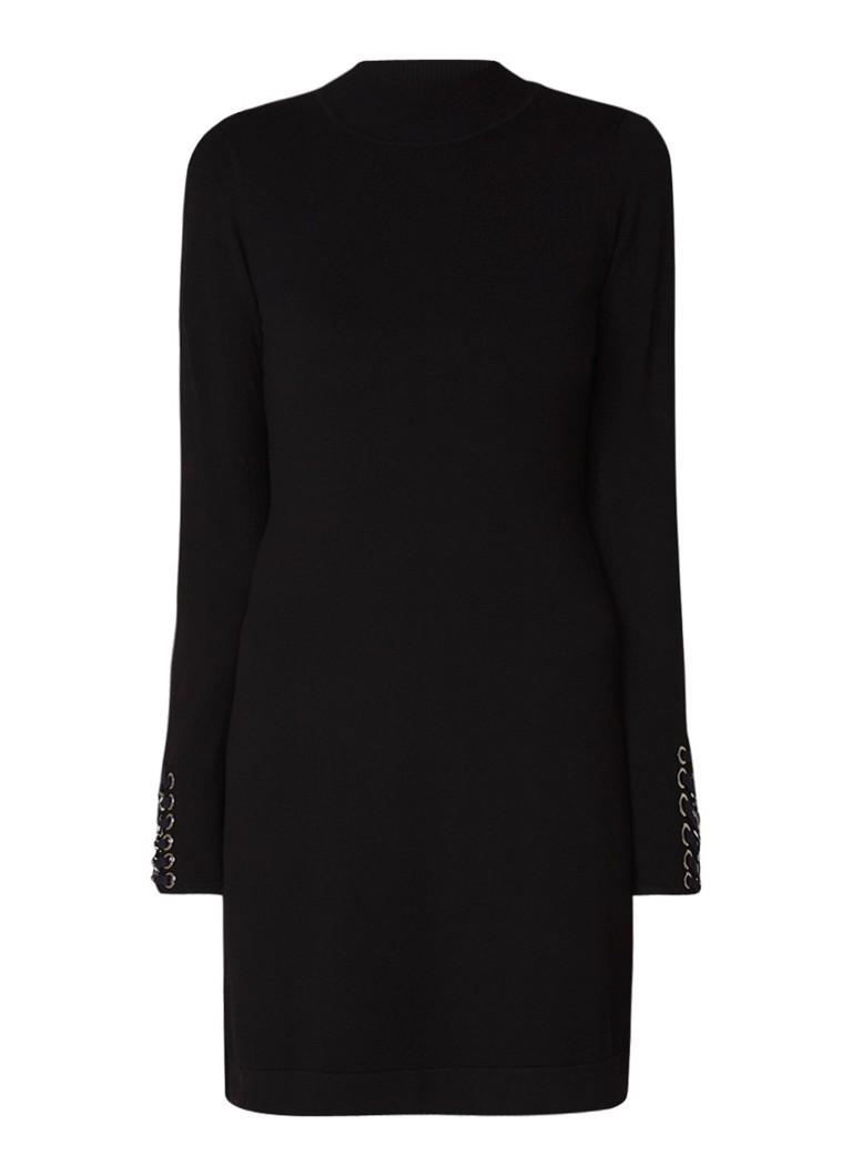 Karen Millen Fijngebreide mini-jurk met rijgdetail zwart