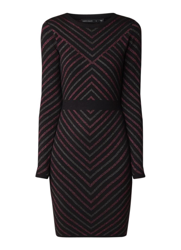 Karen Millen Fijngebreide bodycon jurk met lurex streepdessin zwart